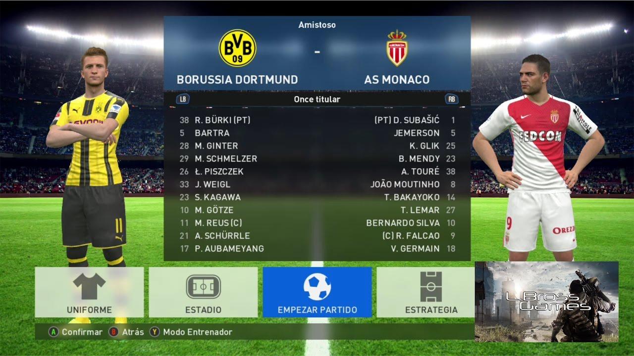 PES 2017 - Dortmund (2) vs Mónaco (0) Ida - Cuartos de Final UEFA ...