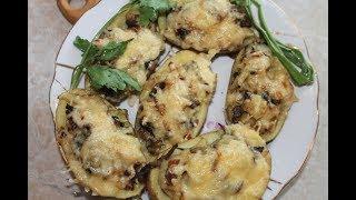 Картофельные лодочки со шкварками и грибами