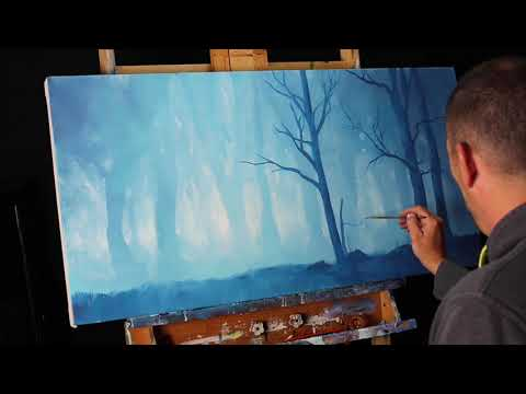 Blue Misty Forest Acrylic Time Lapse Speed Painting With Originator Tim Gagnon