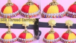 Simple and Beautiful Silk thread earrings || DIY Earrings ||