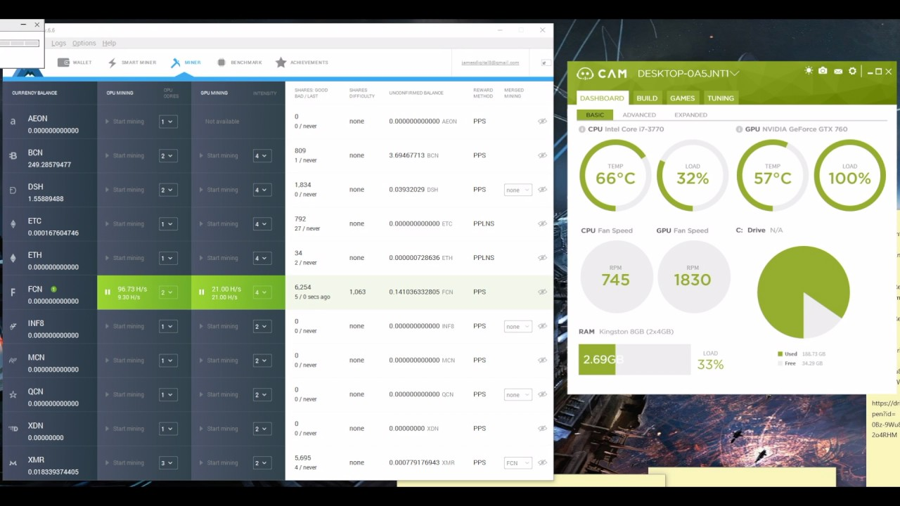 Mining Fantomcoin With Minergate