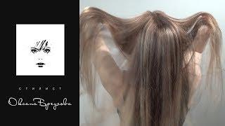 Сложное окрашивание волос из красного в средне-русый цвет.
