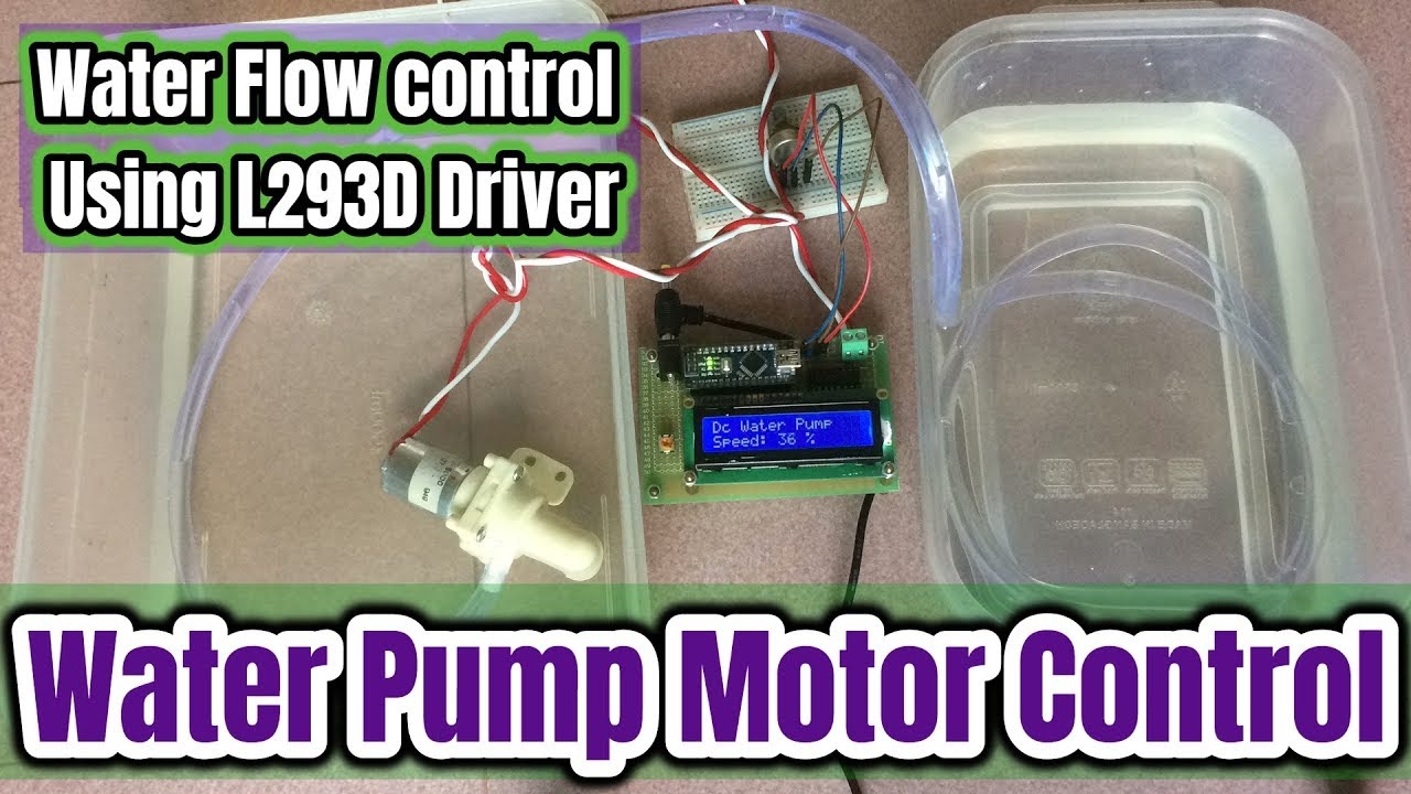 How To Control Water Flow Pump Motor Using L293d Driver With Ic Circuit Free Circuits Arduino