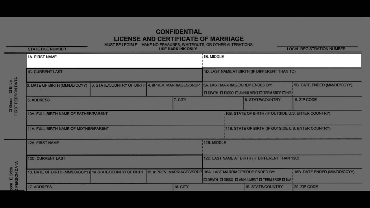 california confidential marriage license name accuracy
