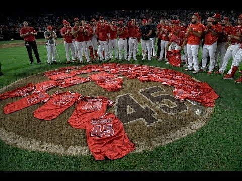 Dana McKenzie - Angels Lay Tyler Skaggs Jerseys On Mound After Combined No-Hitter