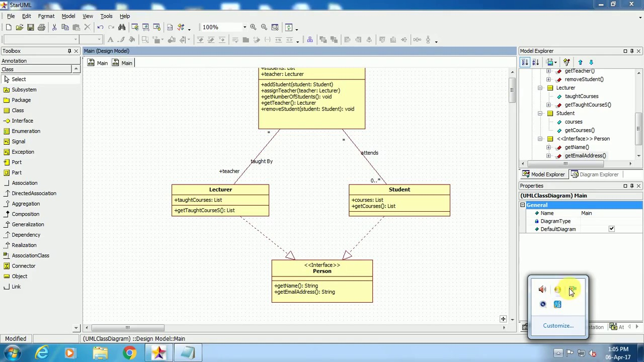 Class Diagram In Star Uml Youtube