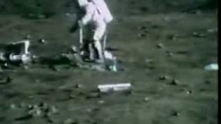 Apollo 16: Young gets his feet tangled