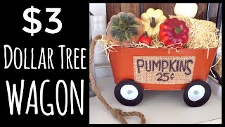 DOLLAR TREE $3 WAGON DIY | MICHAELS DUPE | FALL IN JULY DAY 4