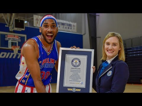 Most Behind the Back Three Pointers in One Minute | Harlem Globetrotters