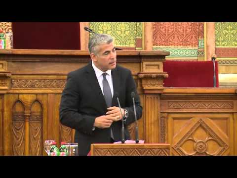 Finance Minister Yair Lapid Speaks at the Hungarian Parliament