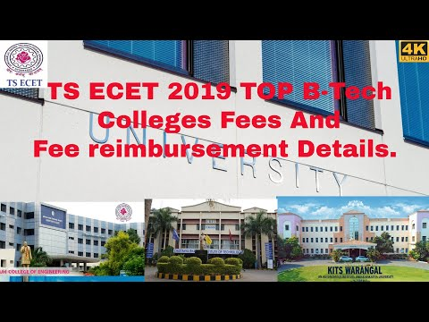 TS ECET 2019 Top B-Tech Colleges With Fees And Fee Reimbursement Details.