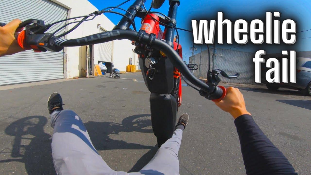 Wheelie Fail // 72v Sur Ron Stunt Bike