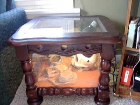 Custom reptile cage 2 end table cage part 2 youtube for Coffee table enclosure