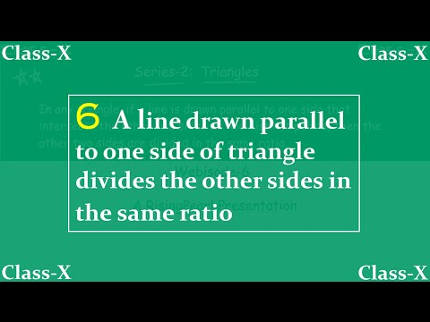 Triangles - 6. Line drawn parallel to one side of triangle divides other sides in same ratio