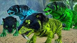 Família Tigre Dentes de Sabre, Ensinando os Bebezinhos a Caçar! Ark Survival Evolved (PT/BR)