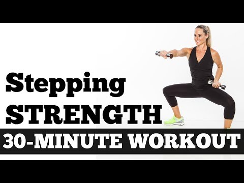 30-Minute Stepping Strength Total Body Workout with Dumbbells no Floor Work, Walking Circuit Workout