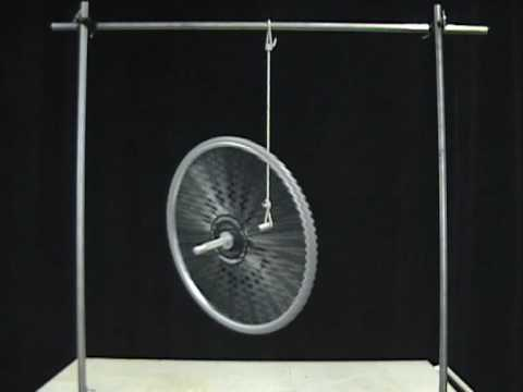 MIT Physics Demo -- Bicycle Wheel Gyroscope