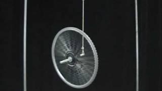 MIT Physics Demo -- Bicycle Wheel Gyroscope
