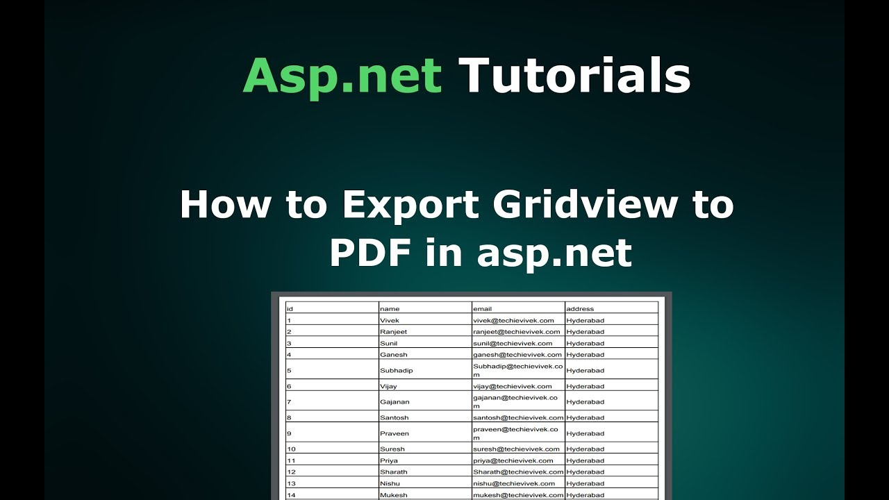 Gridview To Pdf In Asp.net