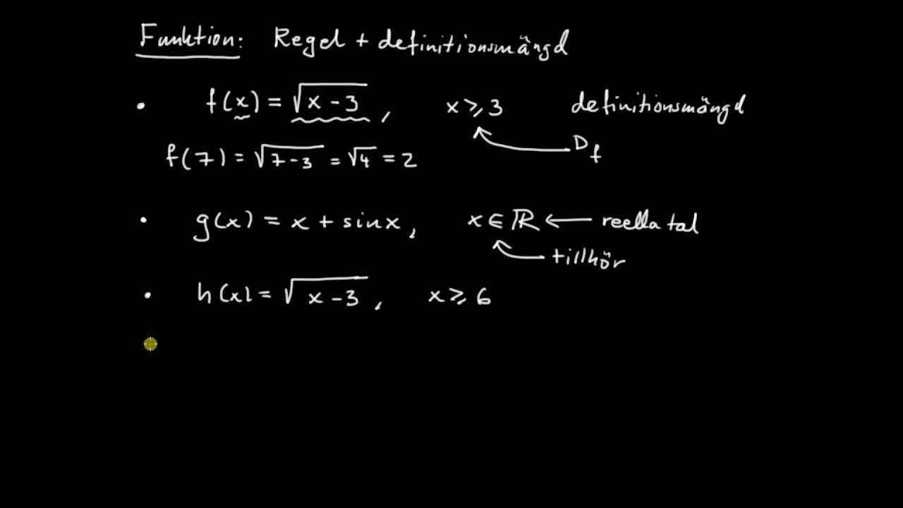 Funktioner del 1 - funktionsbegreppet och graf till en funktion