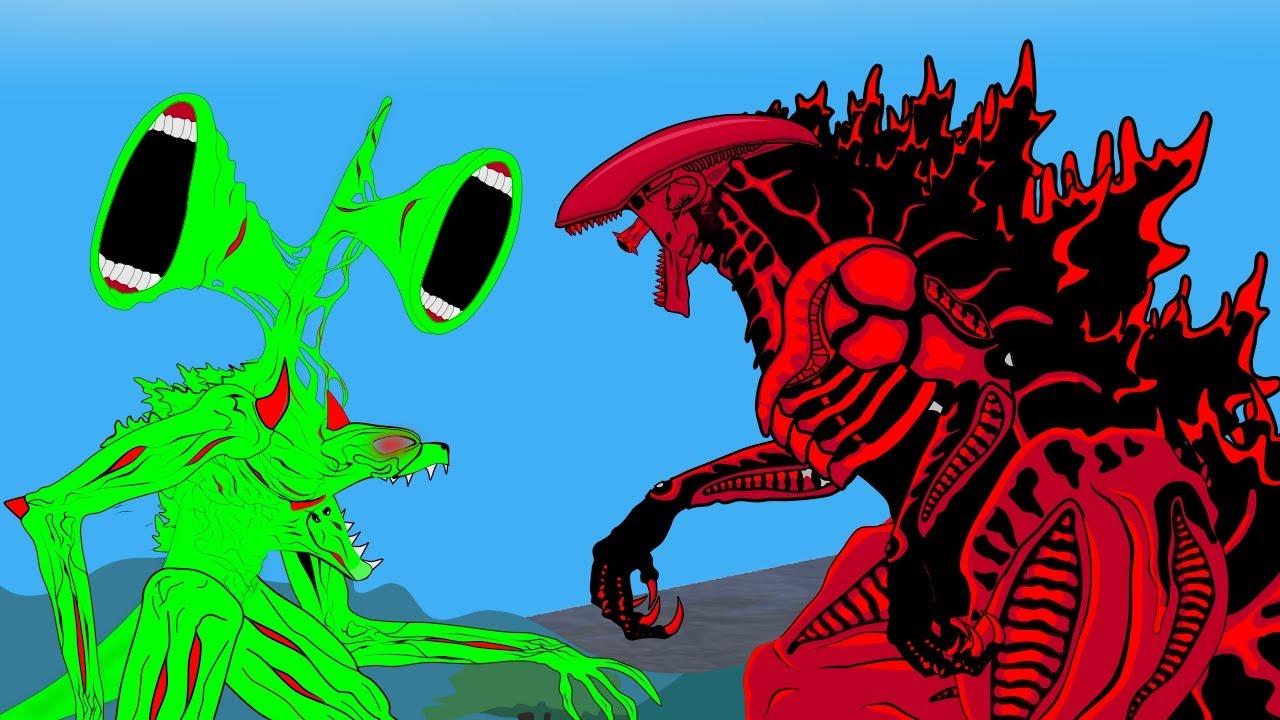 Godzilla Fusion Xenomorph Vs Blue Siren Head - Evolution Of Godzilla -  Part 2