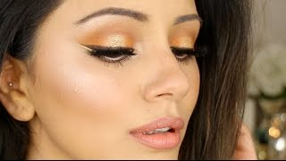 🍊 Orange + Gold Halo Eye Summer Makeup Look 🍊