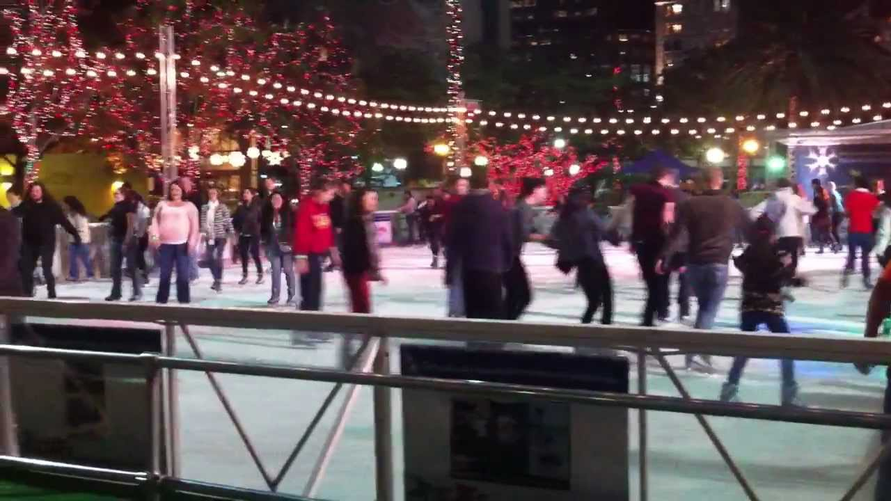 pershing square ice skating rink in downtown los angeles presented by youtube. Black Bedroom Furniture Sets. Home Design Ideas