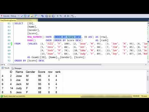 SQL Ranking Functions: Part 2 Rank, Row_Number, And Dense_Rank