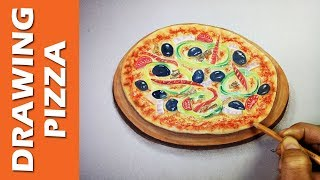 How To Draw A Cute Pizza on paper | Amazing Drawing Art