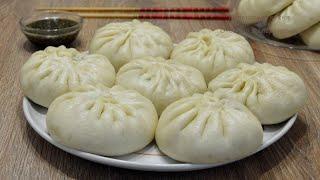 Китайские паровые булочки Баоцзы с джусаем и яйцом(韭菜鸡蛋包子, Jiǔcài jīdàn bāozi). Китайская кухня.