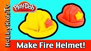 Play-Doh Make a Fire Fighter Helmet! Mickey Mouse Batman Peppa Fireman Hat by HobbyKidsTV