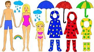 FAMILY DRESS UP PAPER DOLLS COSTUMES DRESSES FOR RAIN ACCESSORIES PAPERCRAFTS