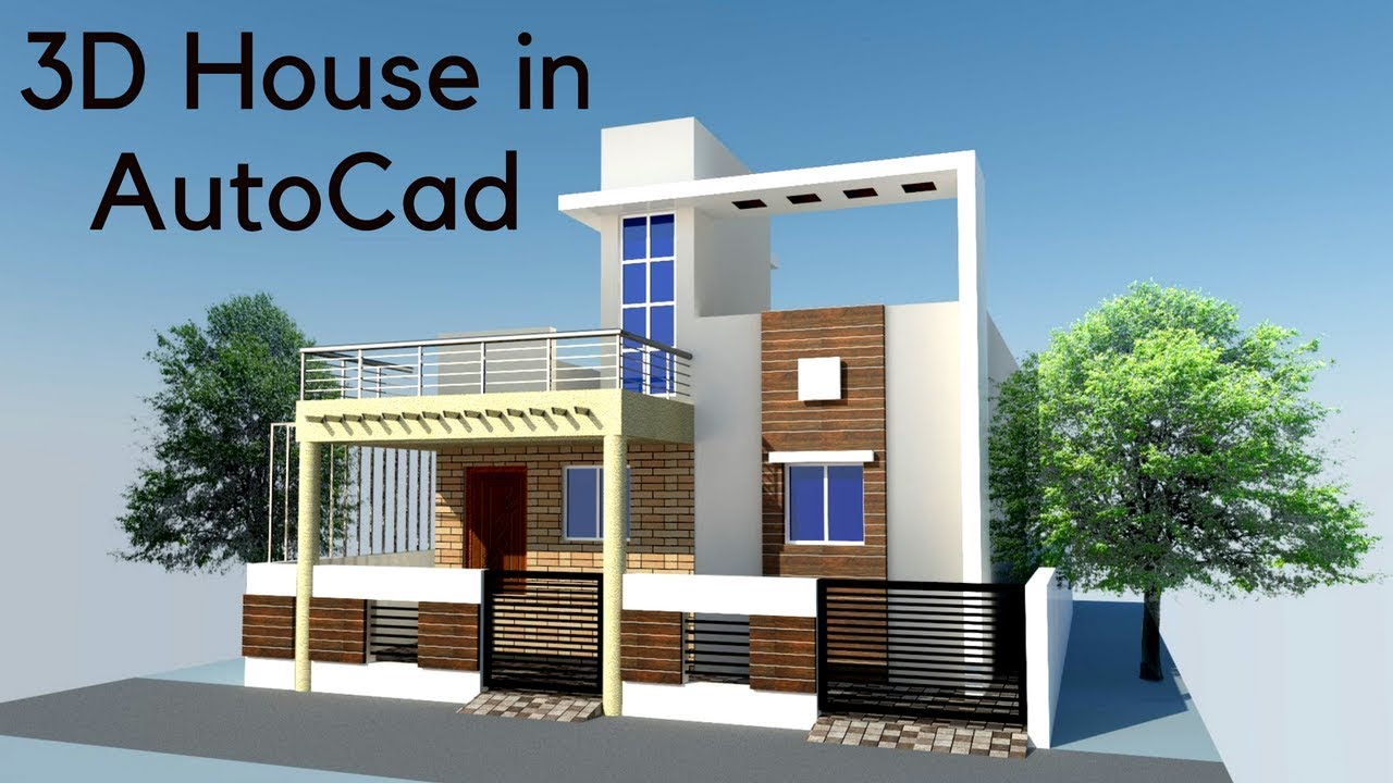 Wonderful Ground Floor 3D House Modelling In AutoCad