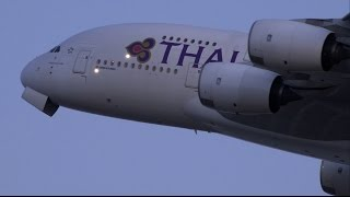 Thai Airways Airbus A380 HS-TUD Landing and Takeoff [KIX/RJBB]