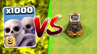 clash of clans 1000 skeletons vs bomb tower new update game play
