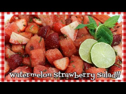 Watermelon & Strawberry Salad Agave Lime Mint Dressing Fruit Salad Recipe Noreen's Kitchen