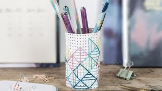 DIY : Embroidery on pencil holder by Søstrene Grene