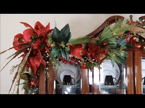 How To Decorate A Christmas Garland / Decorating The Top Of A Hutch ( Moms Home Pt 2)