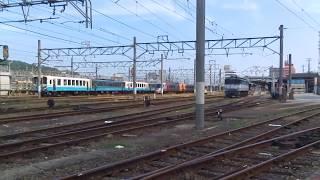 JR四国 松山駅貨物ターミナル裏 内子経由伊予大洲行きキハ54普通ワンマン列車 発車