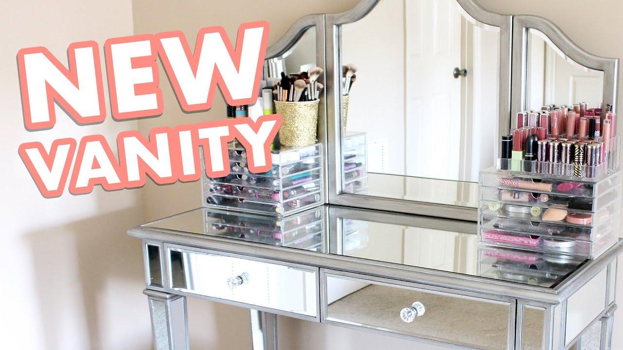 setting up my vanity mirrored makeup vanity set
