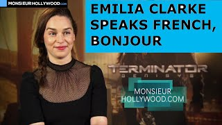Emilia Clarke , speaks French, cute, Interview Teaser, Terminator Genisys, Game of Thrones