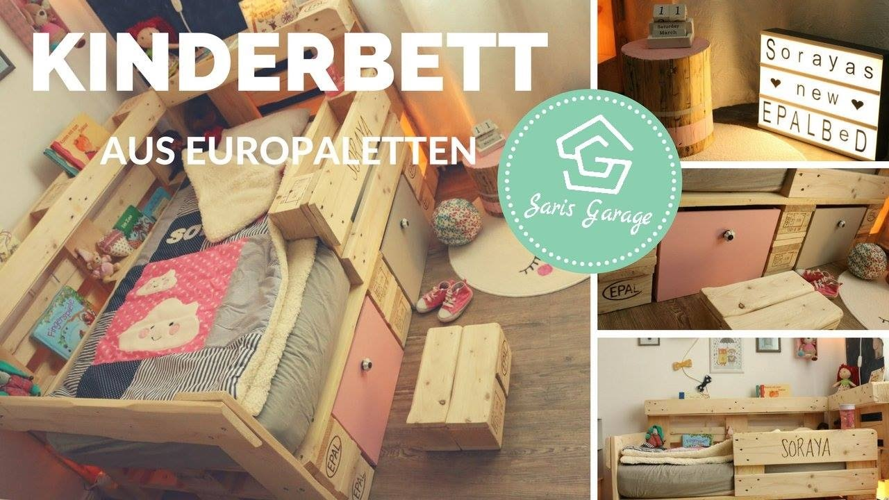 palettenbett f r kinder selber bauen kinderbett aus europaletten bett diy anleitung youtube. Black Bedroom Furniture Sets. Home Design Ideas