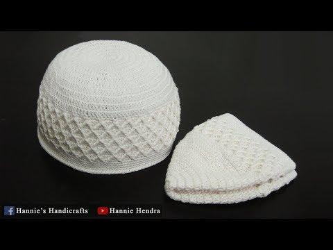 Crochet || Tutorial Peci/ Kopiah Rajut Motif Wajik - Kufi Hat [Subtitles Available]