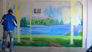 Роспись стены в квартире (Speed wall painting).(Художественная роспись стены - пейзаж с березами. За 4 минуты видео вы увидите работу художника, сделанную..., 2015-02-27T11:59:13.000Z)
