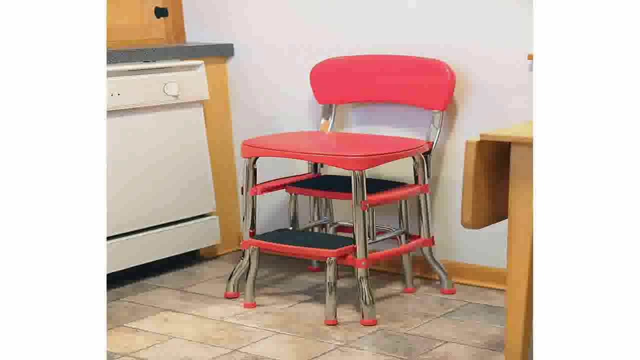 Genial Cosco Retro Counter ChairStep Stool Red   YouTube
