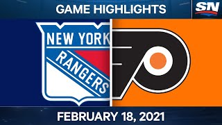 NHL Game Highlights | Rangers vs. Flyers - Feb. 18, 2021
