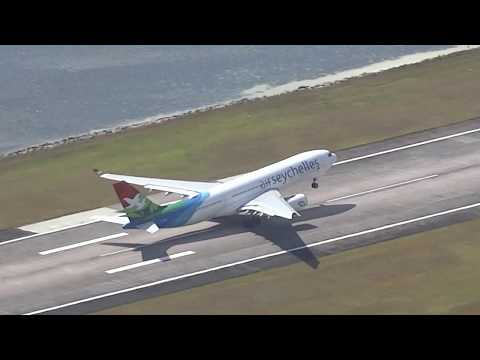 Air Seychelles A330/A320 take-off from SEZ airport / 09.07.2017 Mahe island Seychelles