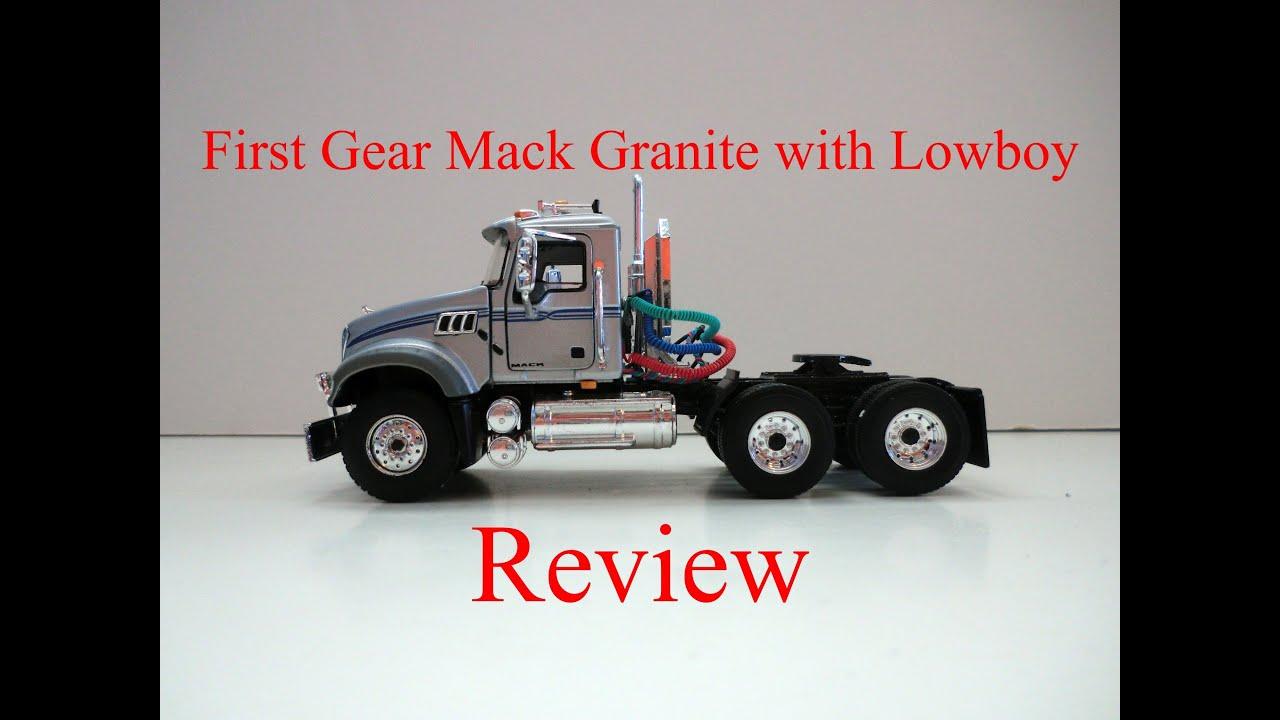 End Dump Truck >> 1:50 First Gear Mack Granite MP with Tri-Axle Lowboy ...