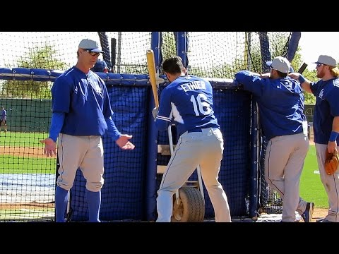 Andre Ethier Batting Lessons from Mattingly - 2015 Spring