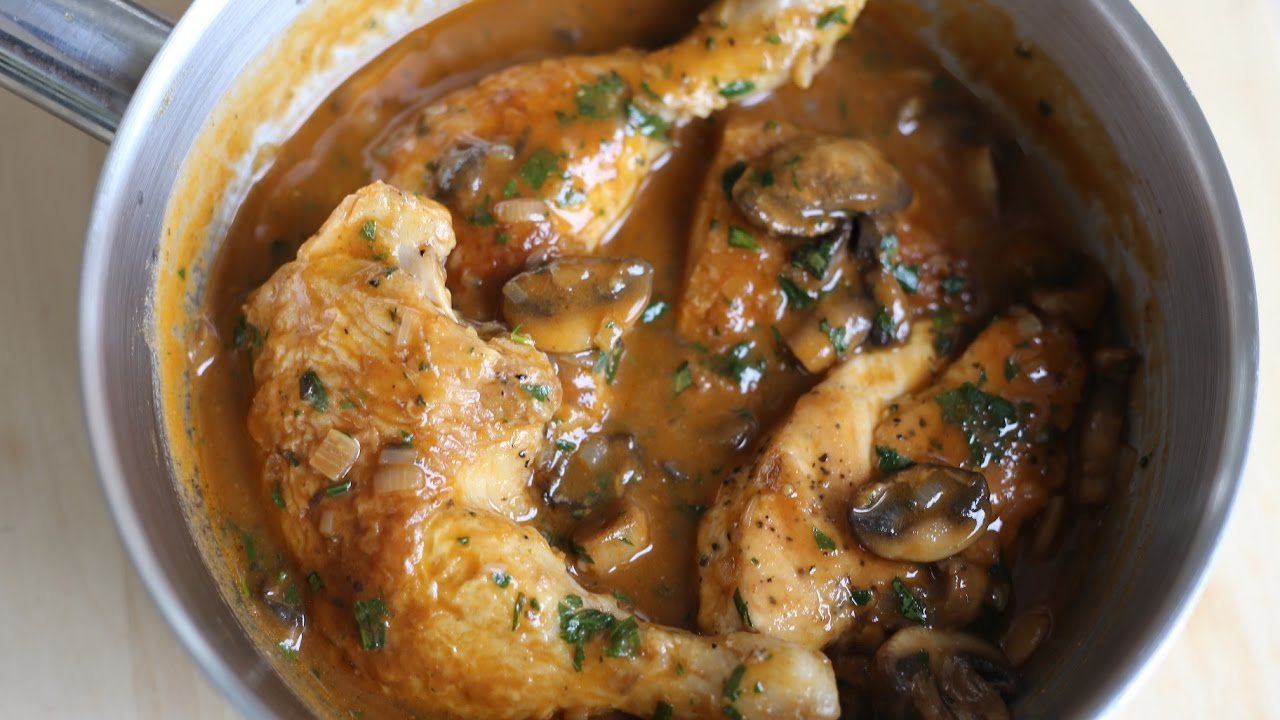 Hunters Chicken Recipe - Chicken Chasseur By the French Cooking Academy - YouTube